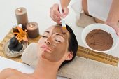 foto of mud  - Peaceful brunette getting a mud facial applied in the health spa - JPG