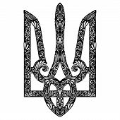 stock photo of trident  - Vector Decorative Ukrainian Trident - JPG
