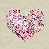 foto of cosmetic products  - Heart of Makeup products set - JPG