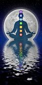 picture of tantra  - Illustration of meditation with the seven chakras - JPG