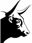 image of bull head  - Black and white vector image of Bull - JPG