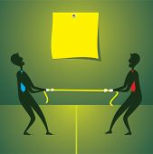 image of tug-of-war  - tug war between two men and write your text concept vector - JPG