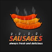 picture of grilled sausage  - Grilled Sausages vector poster - JPG