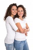 stock photo of identical twin girls  - Real twin sisters - JPG