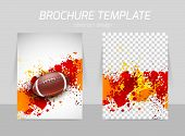 stock photo of pamphlet  - Flyer template back and front design with rugby ball - JPG