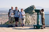 picture of gibraltar  - Portrait of happy tourist people on the Rock of Gibraltar. ** Note: Soft Focus at 100%, best at smaller sizes - JPG
