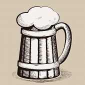 image of drawing beer  - Vector hand draw doodle sketch beer mug cartoon - JPG