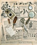stock photo of edwardian  - antique accessories and writing tools vintage fashion magazine for the woman - JPG