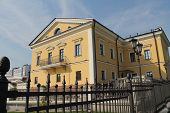 pic of paysage  - old beautiful yellow house with balcony and terrace - JPG