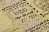 stock photo of mahatma gandhi  - Five Hundred Rupee Paper Currency in High Resolution - JPG