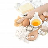 foto of ingredient  - baking ingredients eggs flour sugar butter yeast - JPG