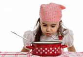 foto of ladle  - girl pretending to cook in a pot with ladle - JPG