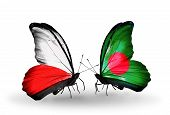 pic of bangladesh  - Two butterflies with flags on wings as symbol of relations Poland and Bangladesh - JPG