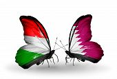 image of qatar  - Two butterflies with flags on wings as symbol of relations Hungary and Qatar - JPG