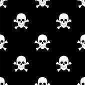 foto of skull cross bones  - seamless pattern with skulls and bones - JPG