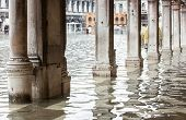 picture of arcade  - View of the arcades of the Piazza San Marco with high water in Venice Italy - JPG