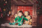 stock photo of christmas baby  - Christmas photoshoot for baby boy in Ukraine - JPG