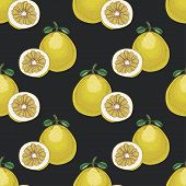pic of pomelo  - Seamless pattern with pomelos on dark background - JPG