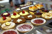 image of french pastry  - Various pastries and cakes in a bakery