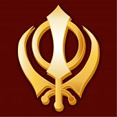 stock photo of khanda  - Golden Khanda symbol of the Sikh faith on a crimson background - JPG