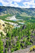 picture of calcite  - Calcite Springs near Tower Rosevelt in Yellowstone national park in summer - JPG