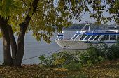 foto of passenger ship  - Passenger cruise ship in Ruse port at Danube river - JPG