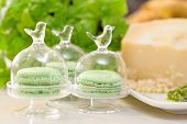picture of pesto sauce  - pesto macaroons with pesto sauce ingredients in the background - JPG