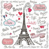 stock photo of valentine love  - Set collection of Paris symbols - JPG