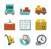 pic of logistics  - Delivery person freight logistic business industry icons flat set isolated vector illustration modern - JPG