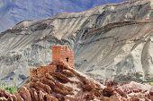 stock photo of jammu kashmir  - Ancient ruins at Basgo Monastery Leh ladakh landscape Jammu and Kashmir India - JPG