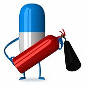 stock photo of fire extinguishers  - White and blue pill character with fire extinguisher isolated - JPG