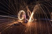 picture of slag  - Showers of hot glowing sparks from spinning steel wool at Coney Island Beach Brooklyn New York - JPG