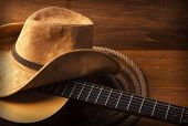 picture of guitar  - American Country music background with guitar and cowboy hat - JPG