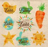 pic of chicken  - Happy easter symbols painted pastel colored stylized kids style - JPG