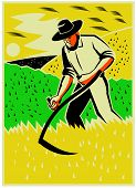 stock photo of scythe  - Illustration of a farmer with scythe working the farm field harvesting reaping crop harvest done in retro style - JPG