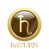 stock photo of saturn  - Round glossy round button - JPG