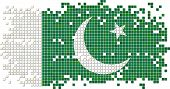 stock photo of pakistani  - Pakistani grunge tile flag - JPG