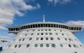 foto of cruise ship caribbean  - Front of a massive luxury cruise ship with round portholes - JPG