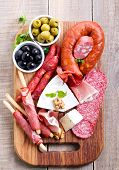 foto of catering  - Catering platter with different meat and cheese - JPG
