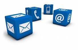 stock photo of four  - Web contact us Internet concept with email mobile phone and at icon and symbol on four blue cubes for website blog and on line business - JPG