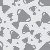 foto of grayscale  - Seamless pattern with winners cup and stars in flat design style - JPG