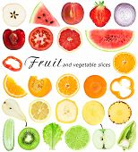 stock photo of watermelon slices  - Collection of fresh fruit and vegetable slices on white background - JPG
