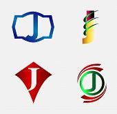 image of letter j  - Vector illustration of abstract icons based on the letter J - JPG
