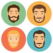 pic of beard  - Flat Man with Beard Hipster Icons Set - JPG