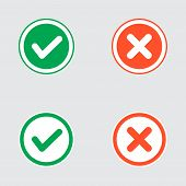 stock photo of voting  - Vector Set of Flat Design Check Marks Icons - JPG