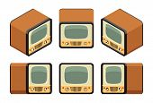 stock photo of tv sets  - Isometric retro TV sets - JPG