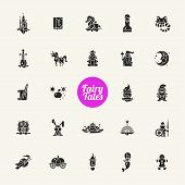stock photo of fairies  - Set of fairy tales flat design magic vector icons and pictograms - JPG