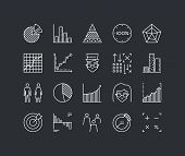 picture of line graph  - Thin lines icons set of infographics elements infochart statistics big data analytics company chart and graph people stats - JPG