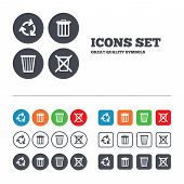 stock photo of recycling bin  - Recycle bin icons - JPG