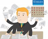 A Cartoon Salary Office Worker Is Busy Working Overtime With Huge Workload On His Hands With Stress poster